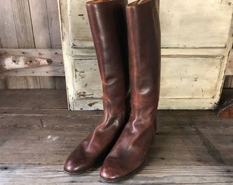 Edwardian English Leather Mens Riding Boots, Bespoke Equestrian Boots, Mens US Size 11