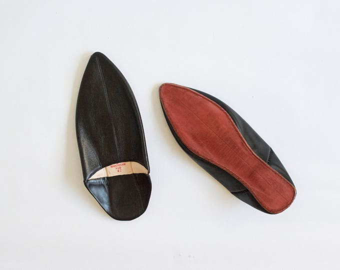 Black Moroccan Babouche Slip Ons