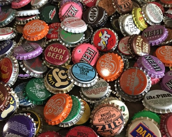 Bottle Caps / 25 Assorted Bottle Pop Caps for Altered Art, Mixed Media, Jewelry, Steampunk, etc.