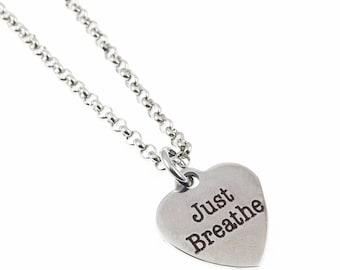 Just Breathe Necklace Meditation Jewelry  Yoga Jewelry Namaste Protection Jewelry Unique Gift Under 25 Expressions Bracelets