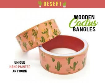 Hand Painted Cactus Bangle