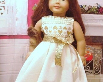 White Velveteen and Gold Holiday Dress for American Girl Dolls
