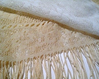 Lace Shawl, Fringe Shawl, 2 toned lace, rose lace, end table cloth, triangle lace wrap