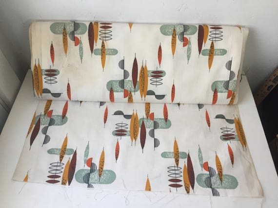 "Vintage new old stock mid-century modern cloth 48"" x 1 yard up to 10 yards"