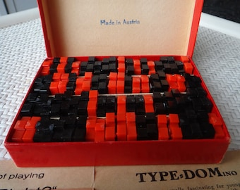 Vintage Mid Century Typ-Dom Dominoes / Crossword Puzzle Hybrid Game - Austria