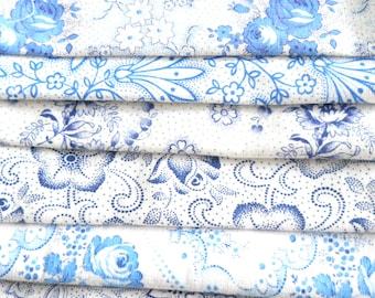 blue vintage fabric pieces patchwork fabric bundle french fabric french floral fabric floral fabric bundle