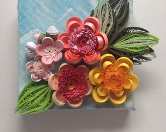Original miniature artwork Quilled flowers on painted canvas Gift For Her