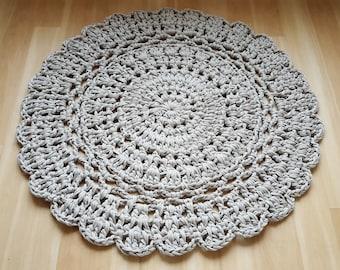 """SALE 36""""/92cm Warm-Grey Chunky Crocheted Doily Rug"""