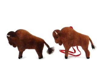 Pair Buffalo or Bison Vintage Miniature  Toys by Wagner and Kunstlerschultz Made in West Germany