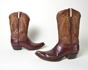Vintage Cowboy Boots 1950s 1960s Western Boots Men's Size 9.5