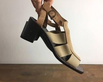 Vintage 1990s Block Heeled Sandles in Suede and Elastic straps , womens footwear, UK 6