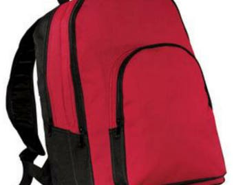 Backpack, red and black, personalized free, back to school