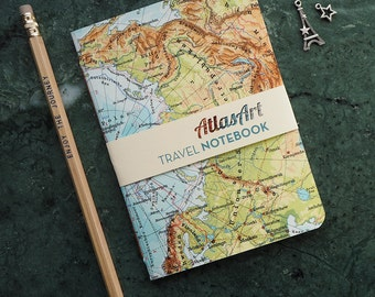 NOTEBOOK SMALL, Northpole, Sweden, Russia, Svalbard, 4x5,8inch, 32 p., plain/ruled, travel journal, diary, atlas, map, vintage, upcycling