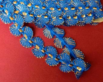 Vintage Blue shell trim, dress and sewing trim,metallic gold, royal blue, sparkly fabulous, vintage trim, seashell, elegant, Art Deco style