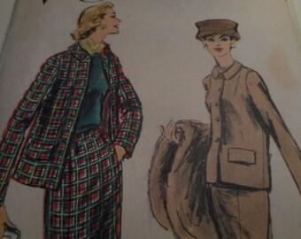 SALE Vintage 1950's Vogue 8973 Suit Sewing Pattern, Size 12 Bust 32