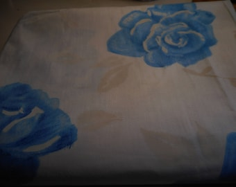 Vintage 1950's, 60's Blue Roses Ivory Leaves on White Cotton Fabric, 2 yards plus