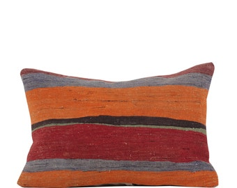 "17"" x 24"" Pillow Cover Kilim Pillow Vintage Kilim Pillow Hand Embroidered Pillow FAST SHIPMENT with ups or fedex - 10893"