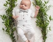 baby boy blessing/christening outfit,  white and gray baby tuxedo, baby blessing bodysuit, baby christening bodysuit, leggings, bubble print