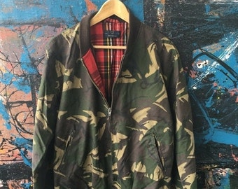25% SALE 20 Vintage FRED PERRY The British Millerain Camo Camouflage Harrington Made in EnglandMods Paul weller Punk Rock Brits Trainer Trac