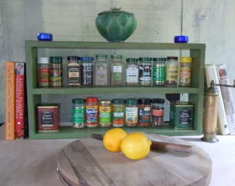 Rustic Spice Rack-Large Free Standing Spice Rack With Rabbit Wire Backing - Made with Solid Pine