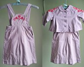 1950s Embroidered Overall Set - 2 Piece Play Set - 18-24 MOS