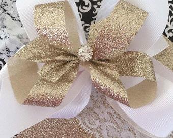 Gold big bow lace headband, flower girl headband, easter headband, gold glitter headband, wide lace headband, shelby jane, hair bow