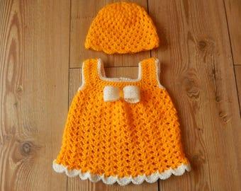 pretty crocheted baby girls dress and hat set sunshine yellow and cream newborn
