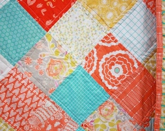 Throw Sized Quilt, Orange, Yellow and Blues ~ Simple Diamond Design ~ Baby and Kid sized