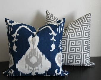 Decorative Throw Pilllow Covers, Navy Gray and White Pillow Covers,Ikat and Greek Key Throw Pillow Sets, Accent Pillow, 18x18, 20x20