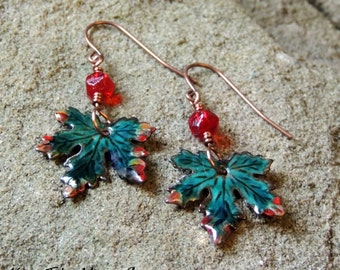 Enamled Maple Leaf Earrings - Dark Teal/Blue/Green - Czech Glass