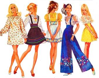 1960s mini skirt, mini dress, wide leg pants, blouse     bust 32 1/2  simplicity 8208