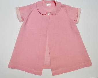 vintage girls jacket: pink linen with polka dot and poodle cuffs, 2 years / 2T / 24 months