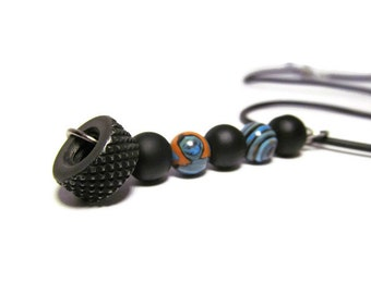 Treads, Fordite Necklace, Black Bead Necklace, 20 Inch Cord, Black Rubber Cord, Car Paint Beads, Motor Agate, Black Tread Hardware Nut