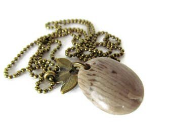 Fossil Necklace, Horn Fossil, Lake Michigan, Fossil Stone, 24 Inch Chain, Bronze Chain, Petite Ball Chain, Bronze Leaf, Leaf Charm, Natural