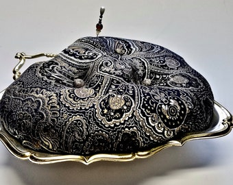 """Silver Heart Dish Upcycled Pincushion 9"""" Pillow Top, Damask Tufted Tapestry Vintage Sewing Supplies Gift for Her"""