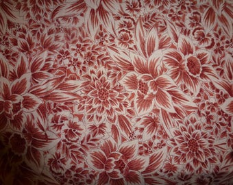 2 1/4 Yards of Quilt Cotton Fabric by Robert Kaufman Fabrics  *Floral Print Design in Rust Color