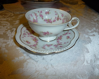 "Gorgeous Vintage Schumann Arzberg Germany ""Bridal Rose"" Pedestal Cup and Pierced Rim Saucer* Beautiful Roses"