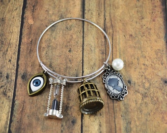 Steampunk Bangle Bracelet ~ Charm Bracelet ~ Cameo ~ Eye ~ Birdcage ~ Hourglass ~ Steampunk Themed Bangle Bracelet