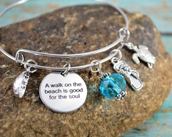 Beach Themed Bangle Bracelet ~ Walk on the Beach is Good for the Soul ~ Seashells ~ Flipflop ~ Aqua Blue Bead
