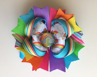 SALE! Ready To Ship Hairbow! Rainbow Hairbow, Spring Hairbow, Colorful Rainbow Hairbow, Boutique Hairbow, Girls Bow