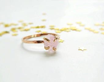 Rose Gold Engagement Ring, Rose Quartz Ring, Promise Ring, 14K Gold Rose Quartz Ring, Anniversary Ring, Rose Quartz Stone, Engagement Ring