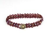 Reserved for Linda: Ruby and Garnet Seed Bead and Topaz Swarovski Crystal Bracelet