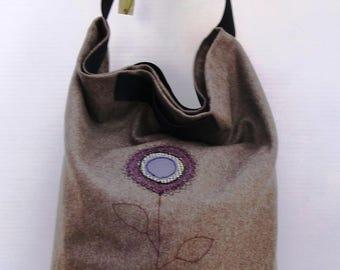 Pale Brown Wool and Purple PVC Appliqued Bag SF004