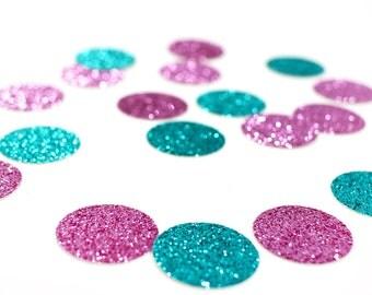 "Lavender + Aqua Blue Glitter Circle Confetti - 1"" - Wedding. Bachelorette Party. Bridal Shower. Baby Shower. Mermaid Party. First Birthday."