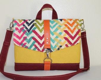 Multi Canvas Jewel Burgundy iPad Bag Cross body Remove Strap