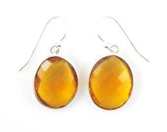 Bezel Gemstone Oval Pendant Earrings - Sterling Silver Bezel Gem and Hooks - Citrine Quartz Earrings - Oval Gemstone Earrings-640112-CTQ