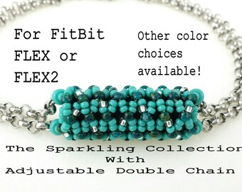 Bracelet or Anklet for FitBit FLEX or FLEX2! DOUBLE Chain, Choice of Colors, Adjustable, Stainless Steel, Lobster Clasp, Wearable Tech