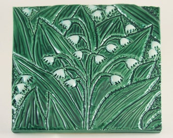 Lily of the Valley,  Low-Relief Ceramic Art Tile, May Birth Flower