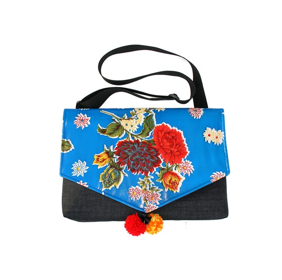 SALE! Blue oil cloth, floral, laptop bag, Messenger bag, cross body bag