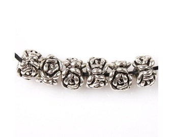 14 Lovely Circle of Roses Spacer Beads Small Silver Tone Carved Look Beading Supplies 8x5mm Hole 2mm